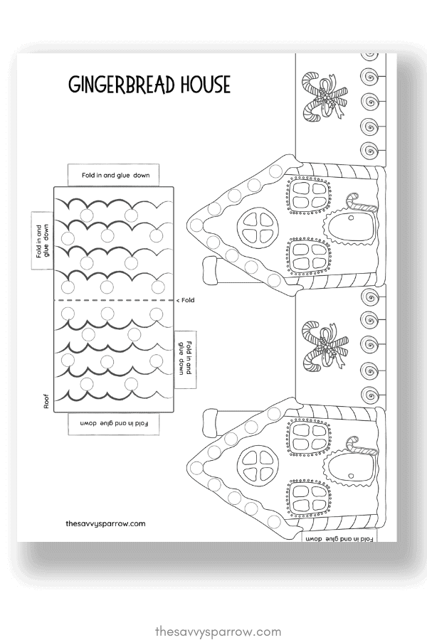 printable gingerbread house template for paper crafts