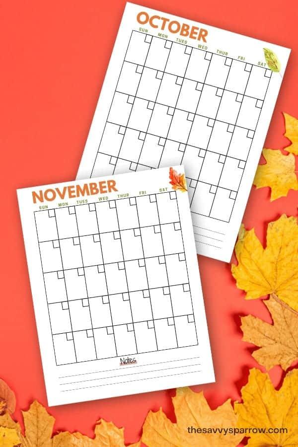 October and November printable calendars