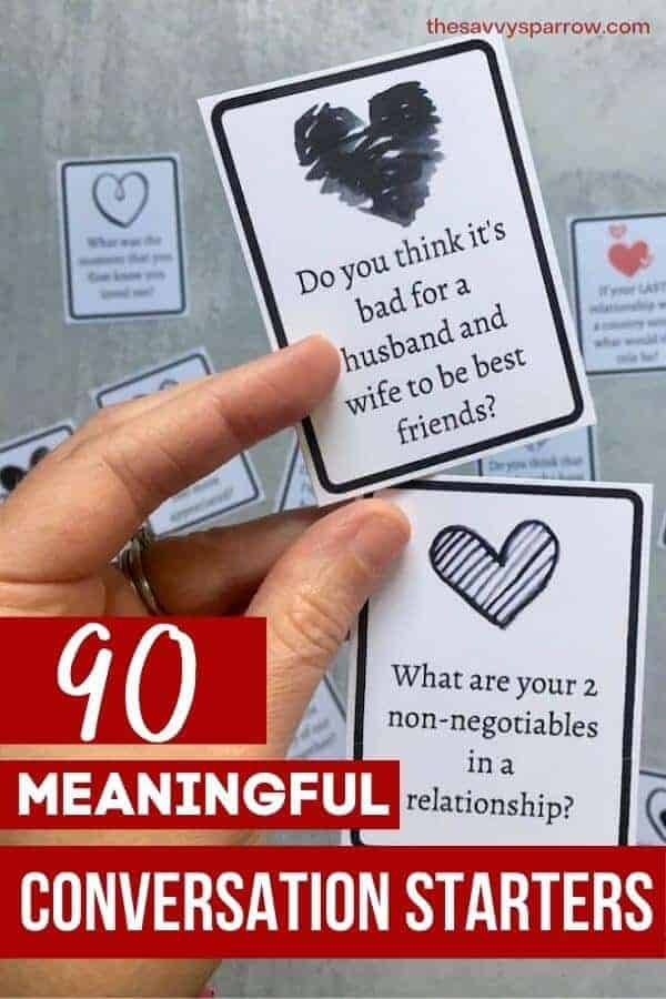 graphic of conversation cards that says 90 meaningful conversation starters
