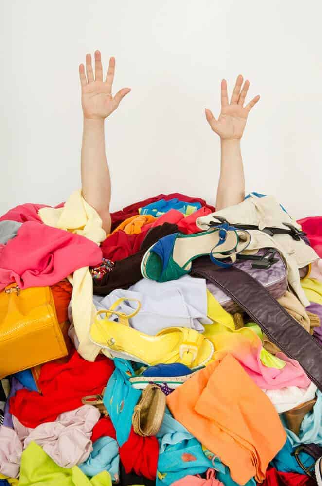woman overwhelmed by clutter