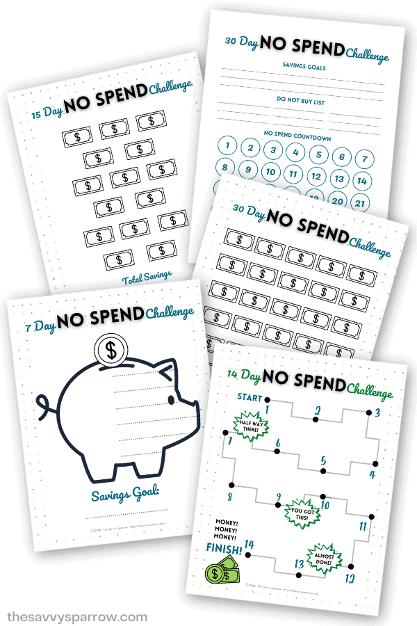free printable no spend challenge worksheets