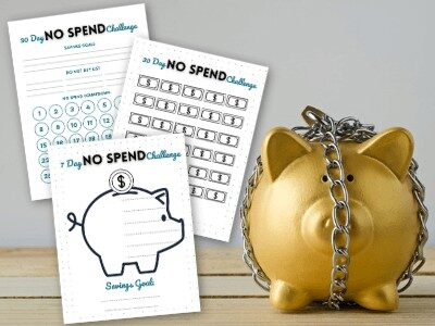 free printable no spend challenge worksheets and a gold piggy bank