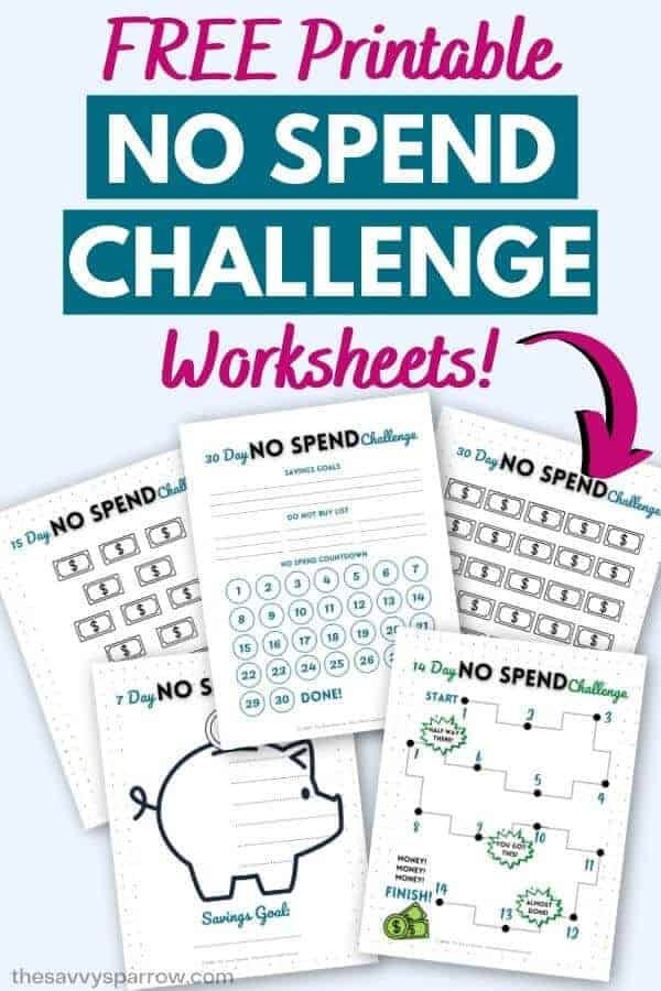 no spend challenge free printable worksheets