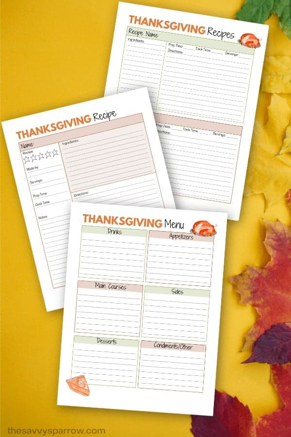 printable Thanksgiving menu planner sheets on a fall background