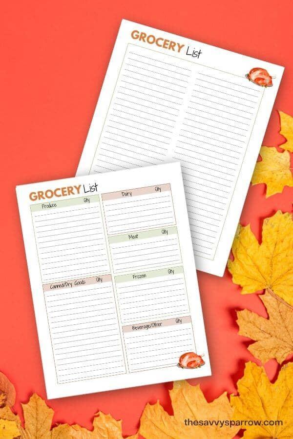 printable grocery list sheets