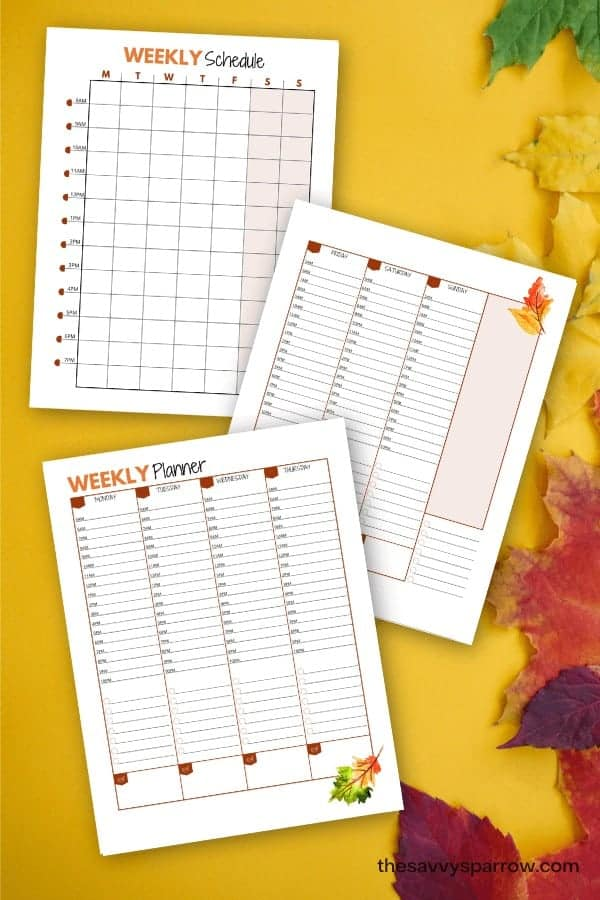 printable weekly planner sheets on a fall background