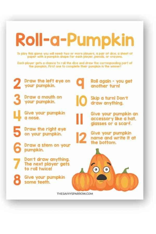 roll a pumpkin game PDF