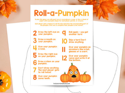 printable Roll a Pumpkin game with pumpkin templates