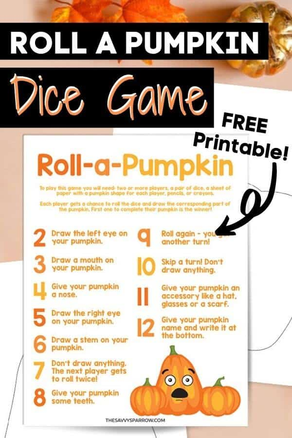 free printable roll a pumpkin game for kids