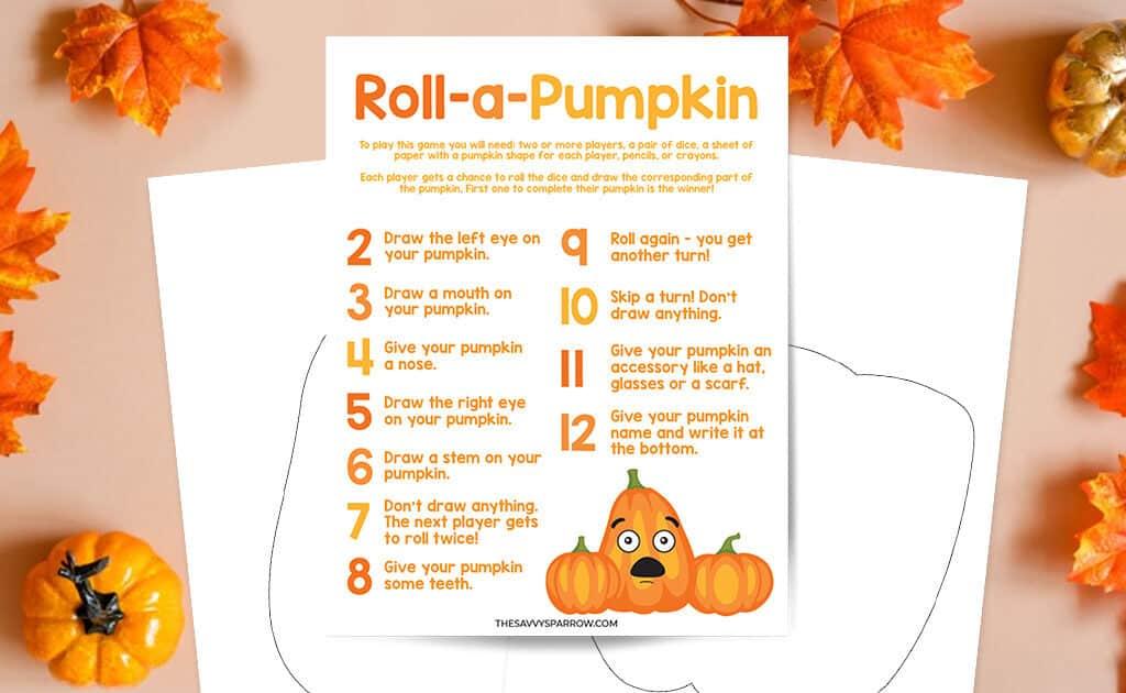 free printable roll a pumpkin dice game