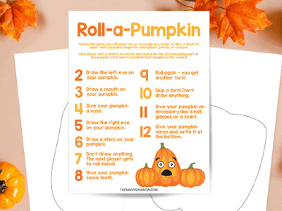 Roll a Pumpkin Game – Free Printable Dice Game for Kids!