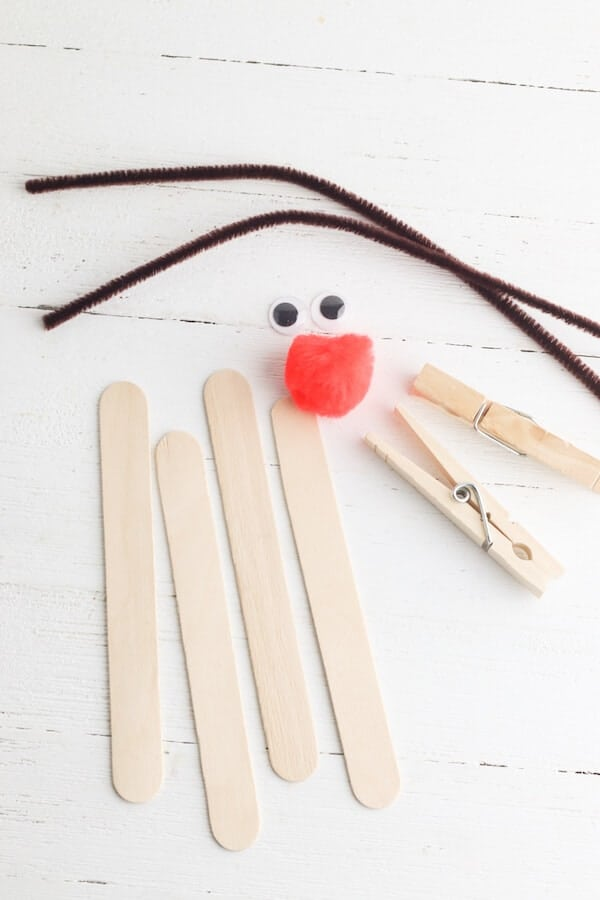 popsicle sticks, clothespins, brown pipe cleaner, googly eyes, and a red pom pom