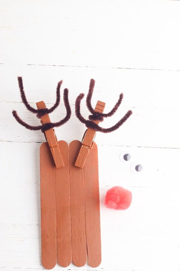 rudolph popsicle stick crafts in process