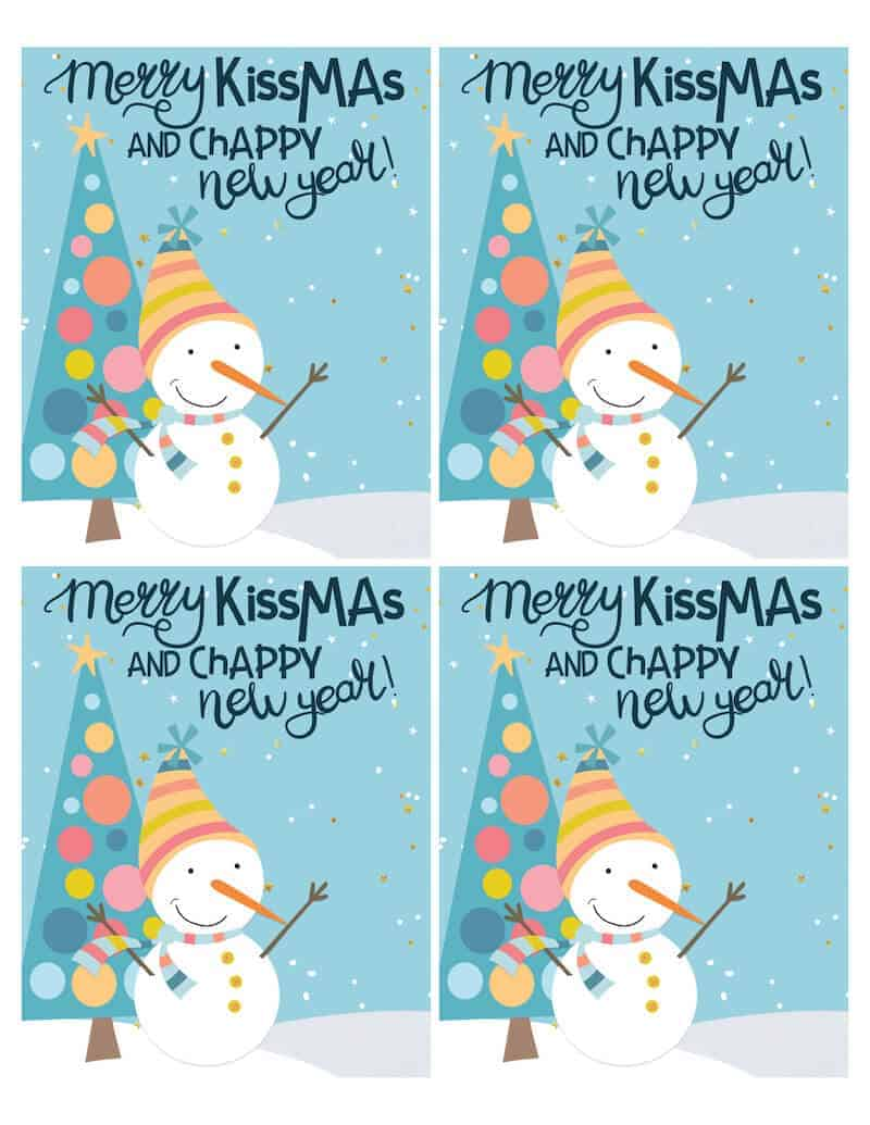 lip balm gift tags that say Merry Kissmas and Chappy New Year