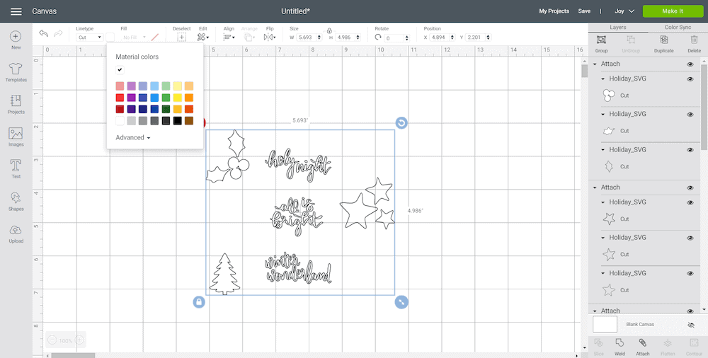 screen shot in Cricut Design Space