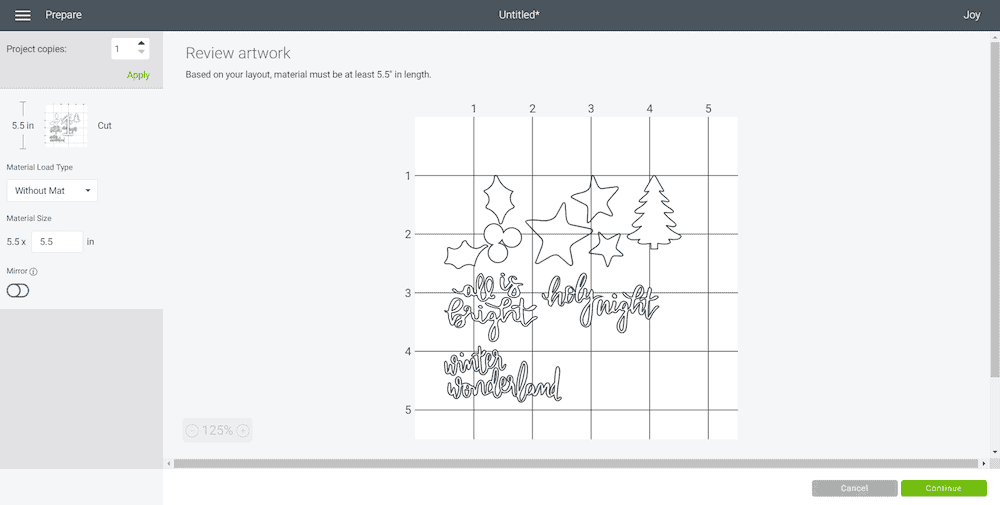 Cricut Design Space screen shot of holiday SVG