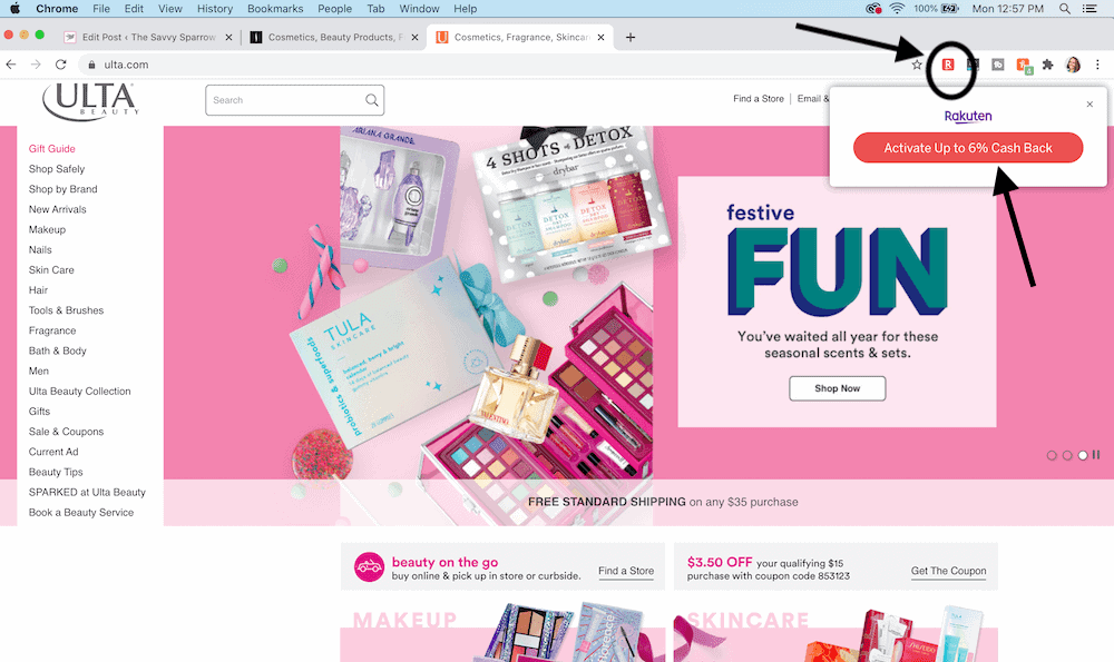 screenshot of online store showing Rakuten browser extension