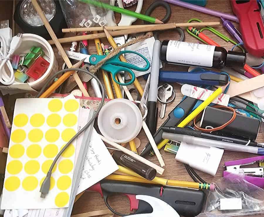 cluttered junk drawer