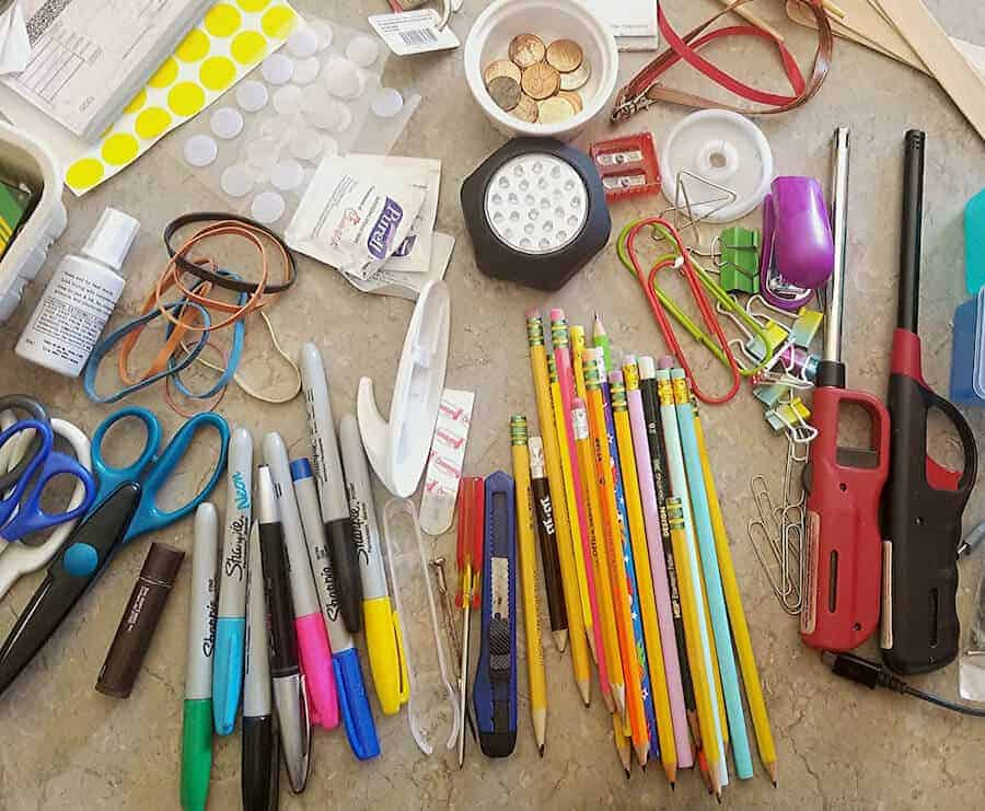 contents of a junk drawer organized by category