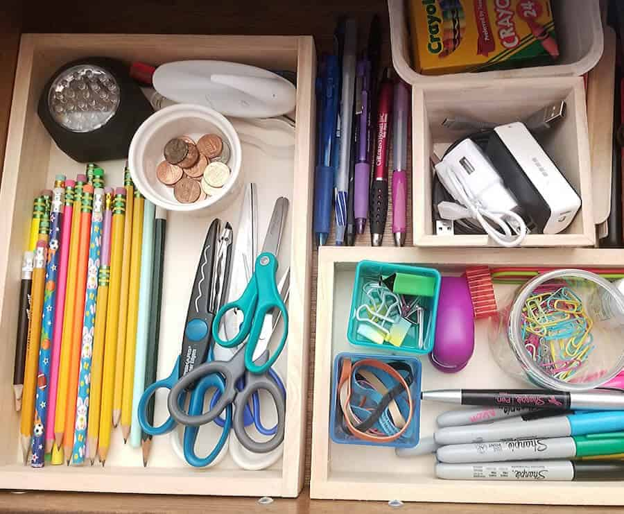 organized junk drawer with drawer dividers