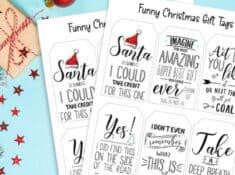 funny Christmas gift tags printable sheets
