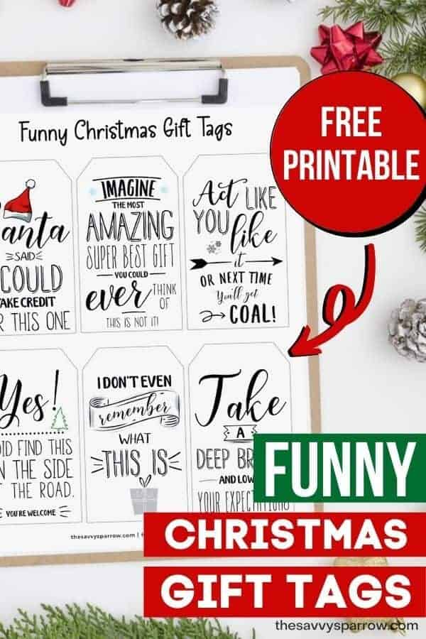printable sheets of funny Christmas gift tags on a clipboard