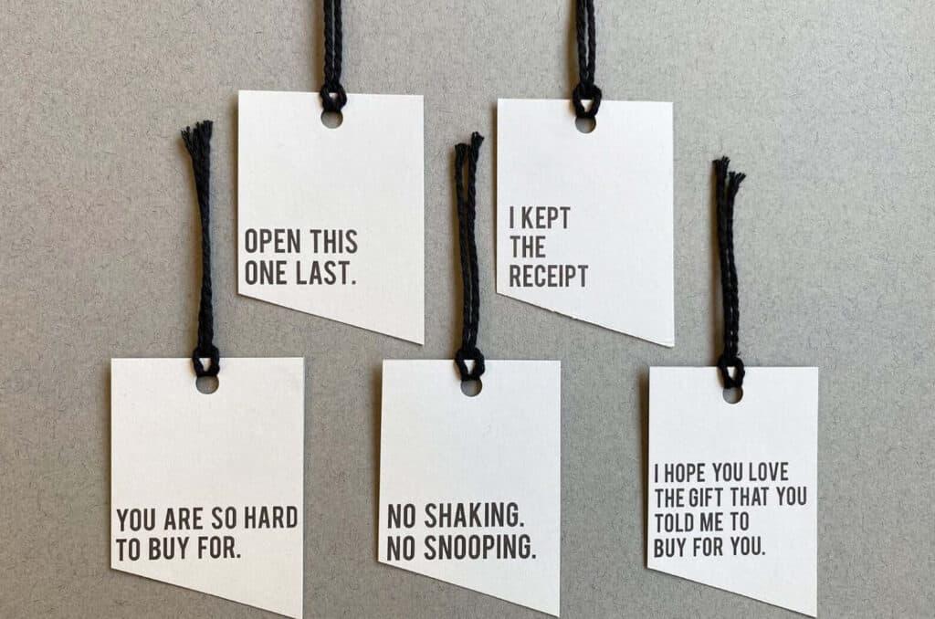 modern black and white Christmas gift tags