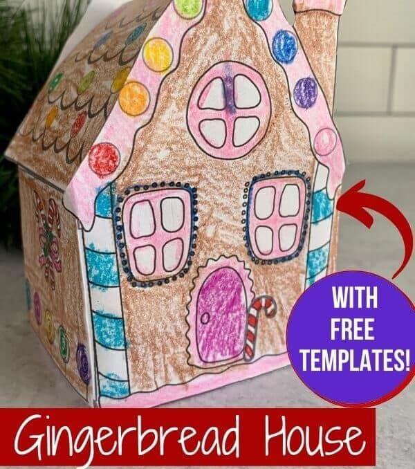 colored 3D paper gingerbread house craft