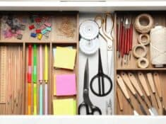 organized junk drawer with drawer organizers