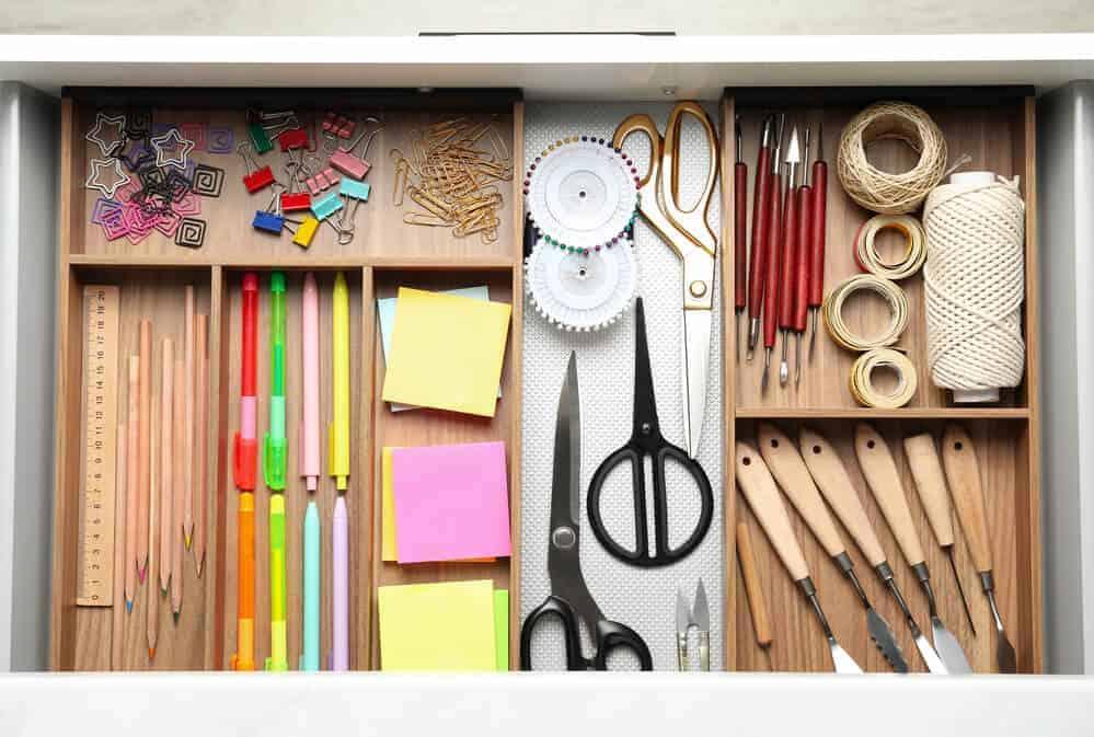 office supplies in drawer organizers