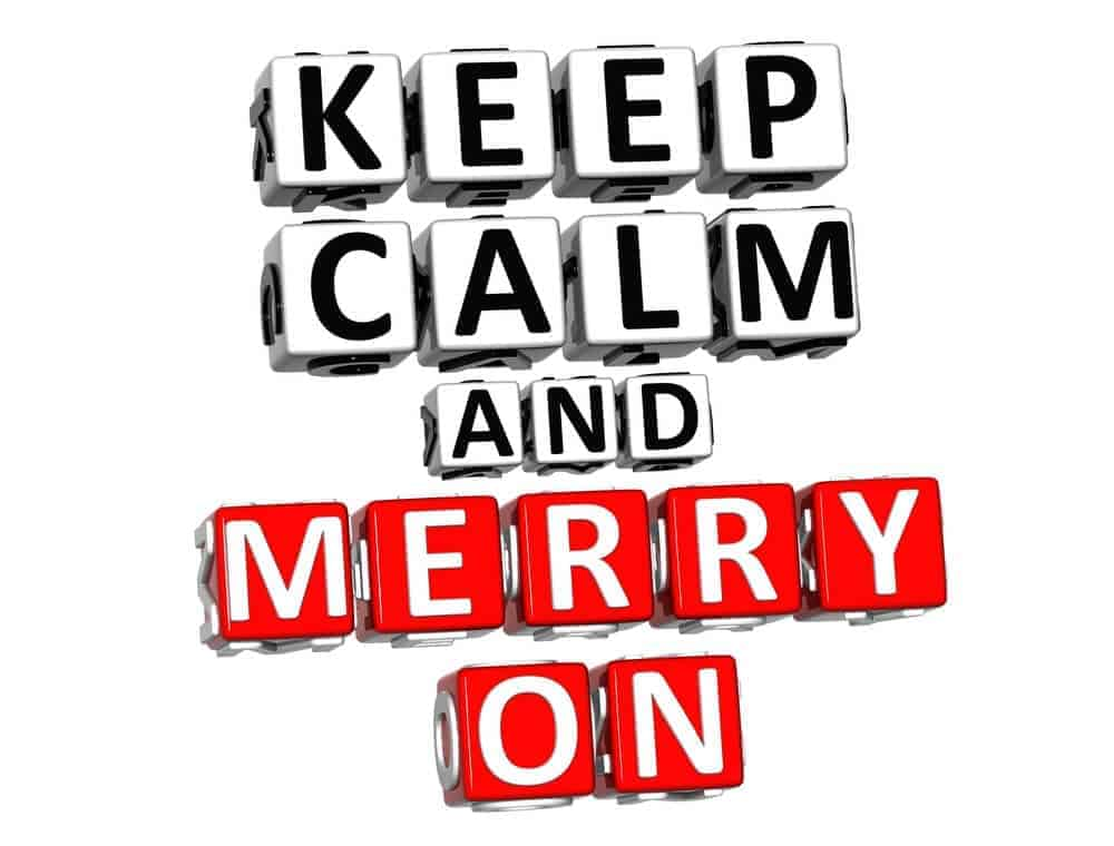 graphic that says keep calm and merry on