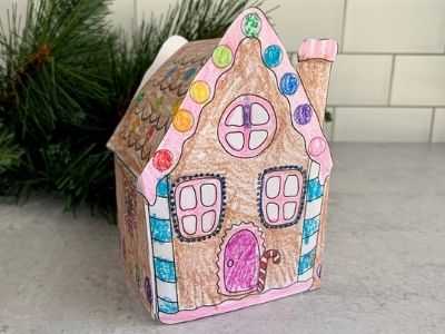 Easy Gingerbread House Crafts for Kids with FREE Printable Template!