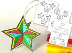 3D paper Christmas ornament craft with printable templates
