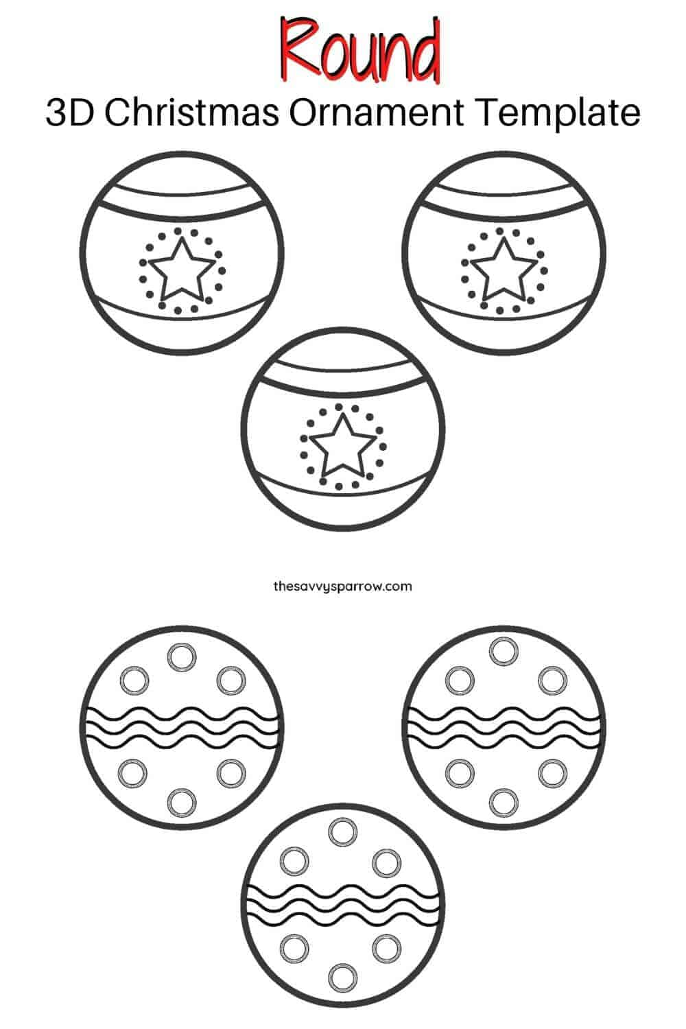 round printable Christmas ornaments template