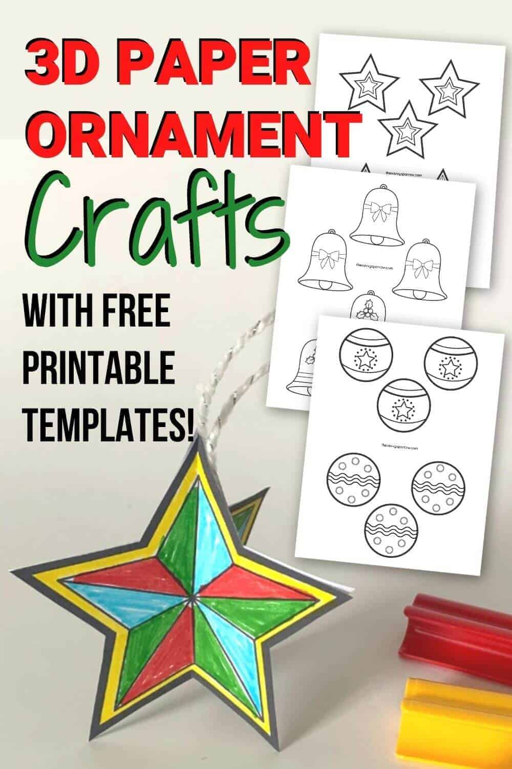 3D paper Christmas ornament crafts for kids