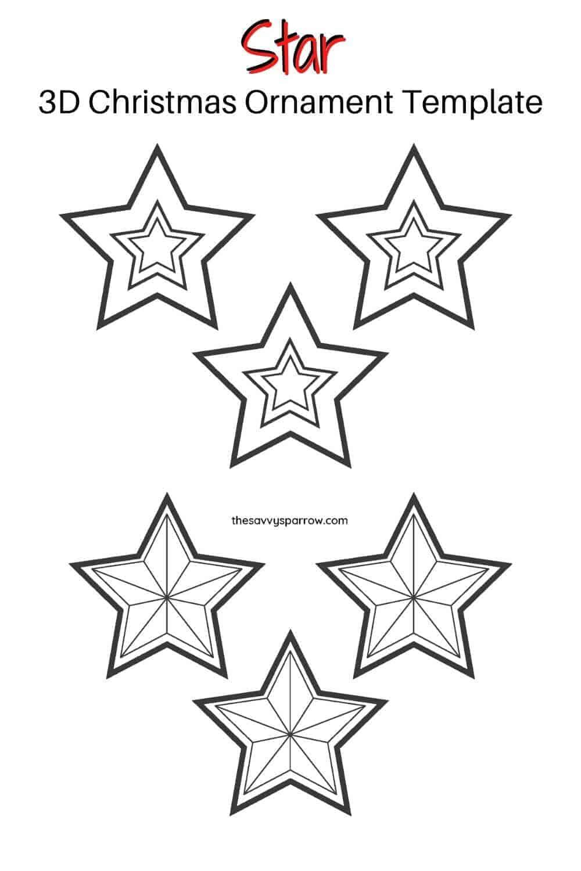 3D star printable Christmas ornament template