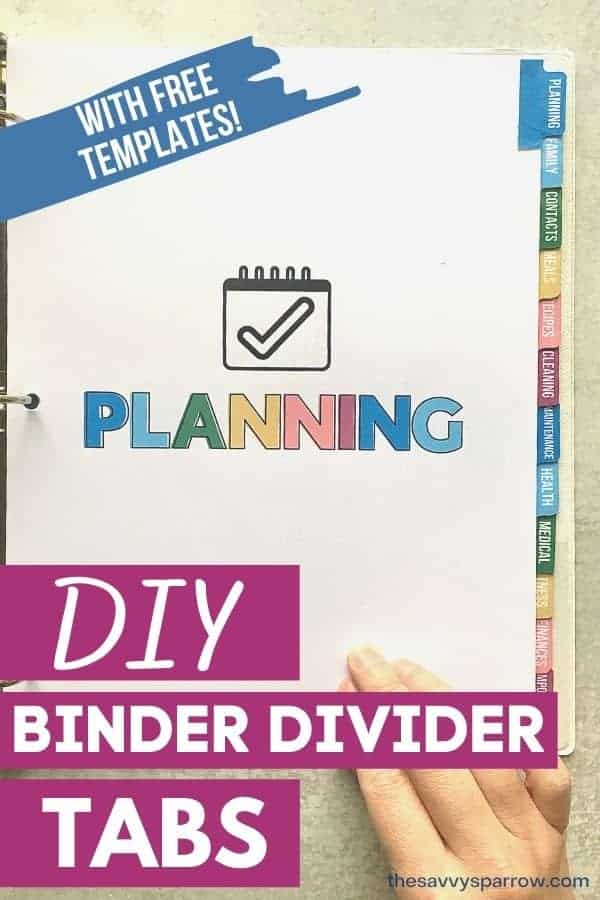 DIY binder divider tabs with free template