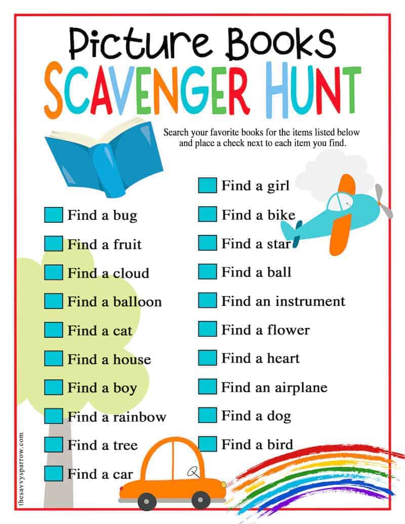 printable picture book scavenger hunt checklist