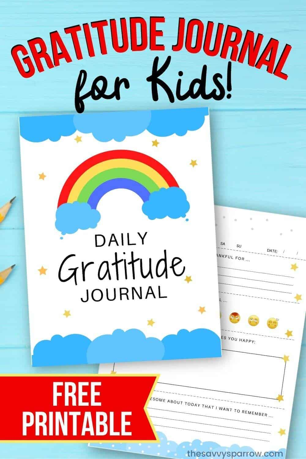 free printable gratitude journal for kids mock up