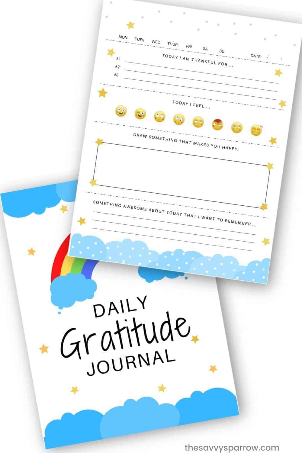 free printable gratitude journal pages for kids