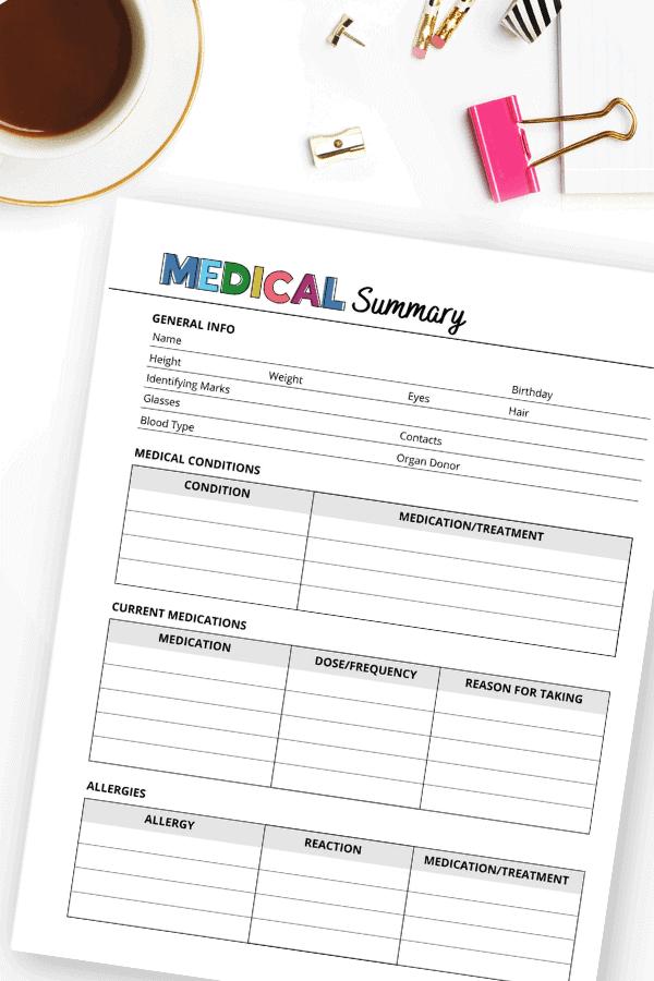 medical information printable sheet