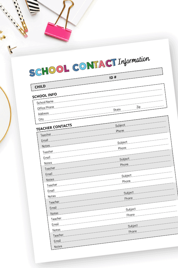 school contact information in the home management binder