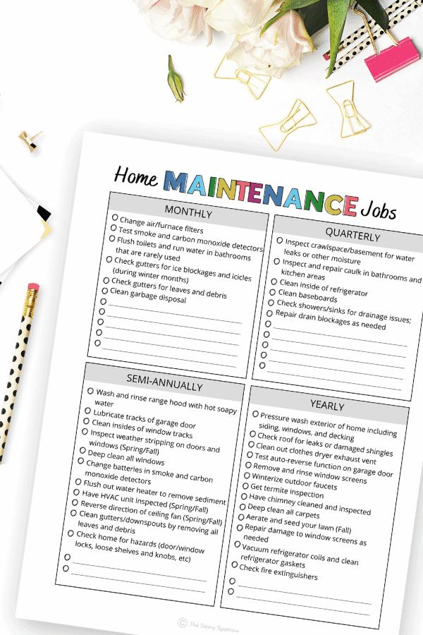 printable list of common home maintenance jobs
