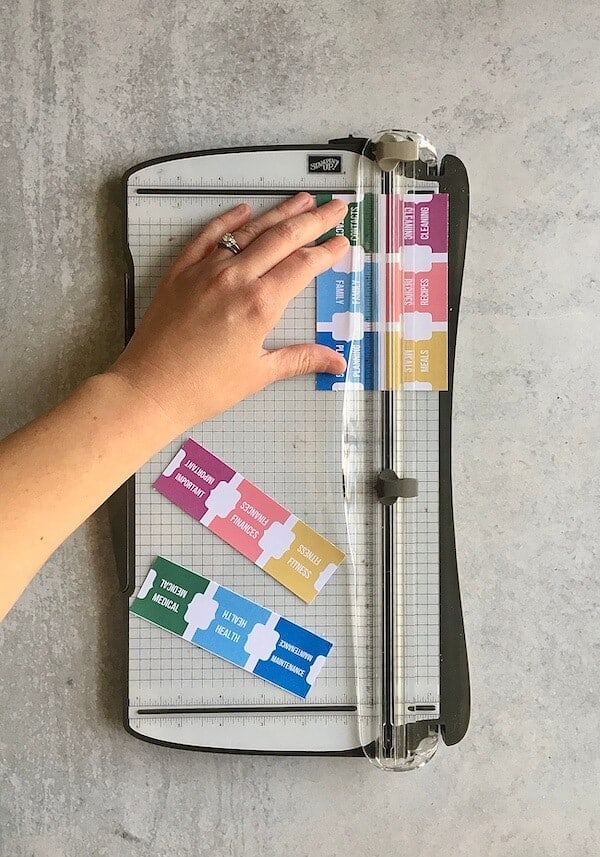paper trimmer used to cut DIY binder dividers