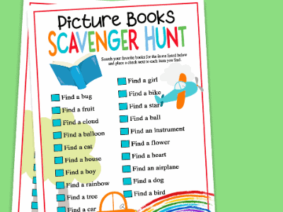 Picture Book Scavenger Hunt with FREE Printable