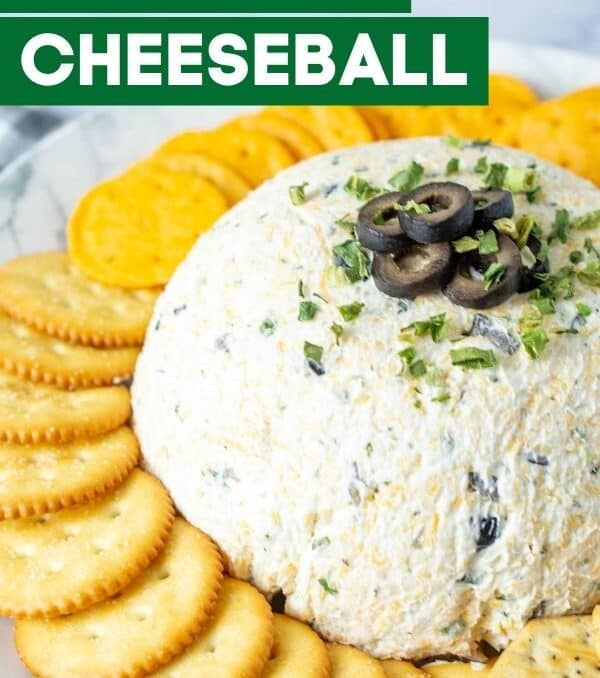 ranch olive cheeseball on a plate