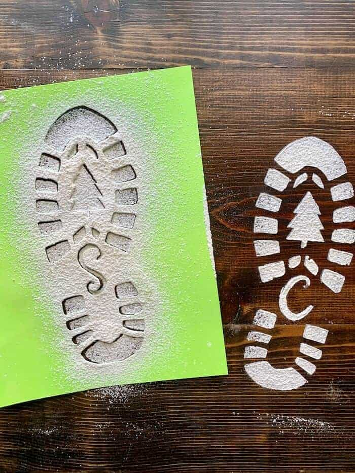 stencil used to make Santa's snowy footprints out of flour