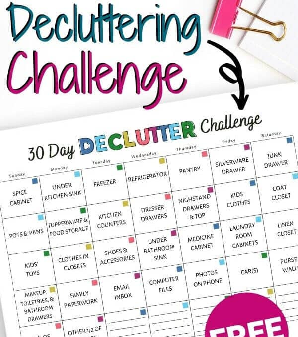 30 day decluttering challenge free printable