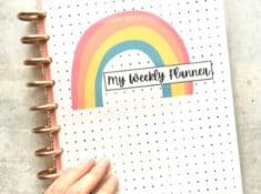 DIY planner cover with rainbow and polka dots
