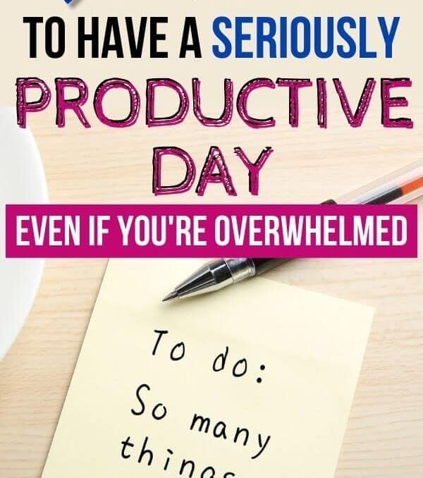 text that says tips to have a productive day on top of post it note